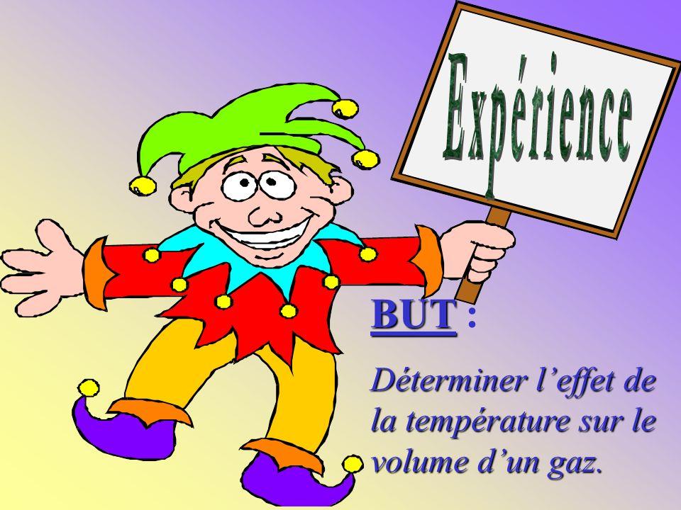 BUT BUT : Déterminer leffet de la température sur le volume dun gaz.