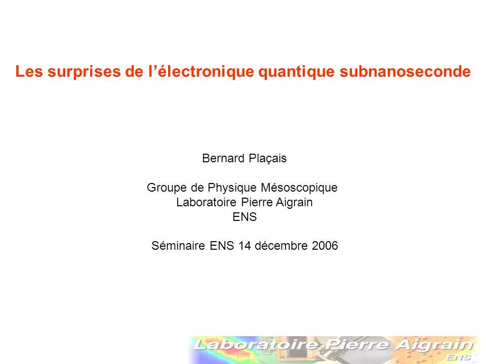 Injection contrôlée de charges uniques V(t) QPC 2D electrons Dot e capacitor plate Coulomb et Pauli V(t) injection I Injection dun seul électron