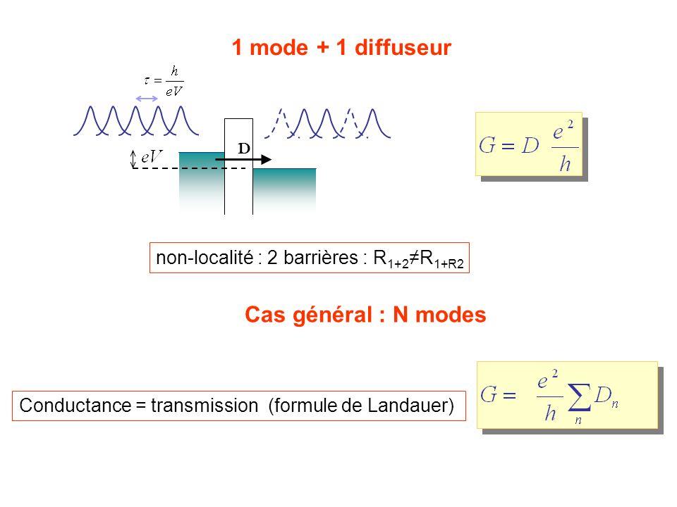 1 mode + 1 diffuseur D Conductance = transmission (formule de Landauer) Cas général : N modes non-localité : 2 barrières : R 1+2 R 1+R2