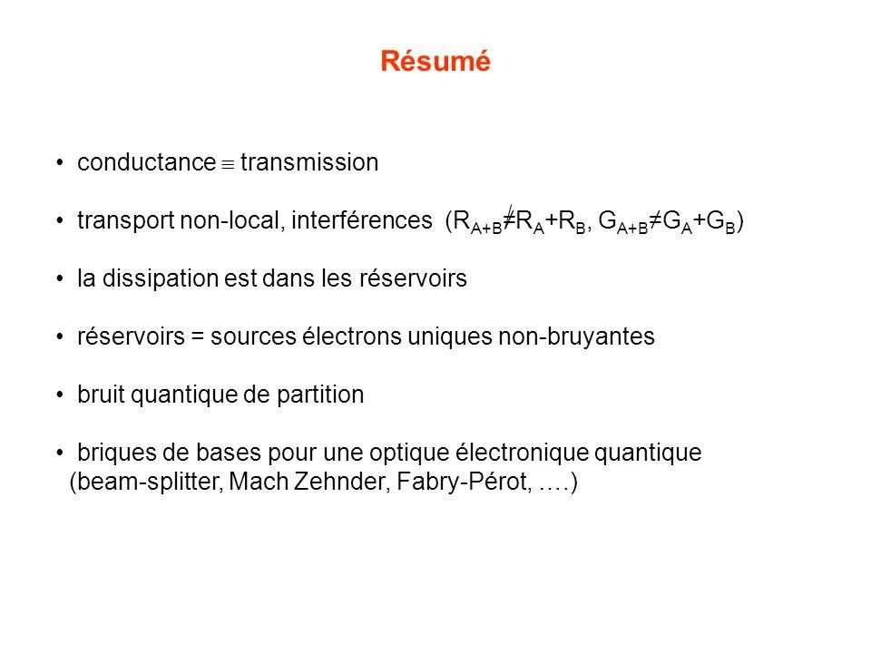 Résumé conductance transmission transport non-local, interférences (R A+BR A +R B, G A+BG A +G B ) la dissipation est dans les réservoirs réservoirs =