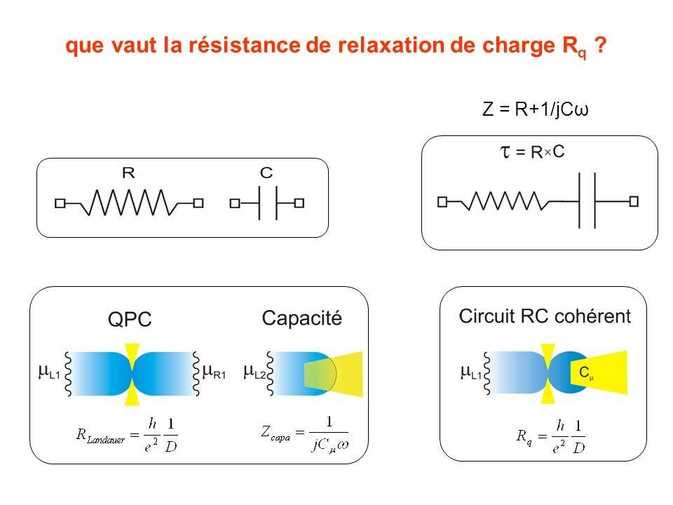 que vaut la résistance de relaxation de charge R q ? Z = R+1/jCω