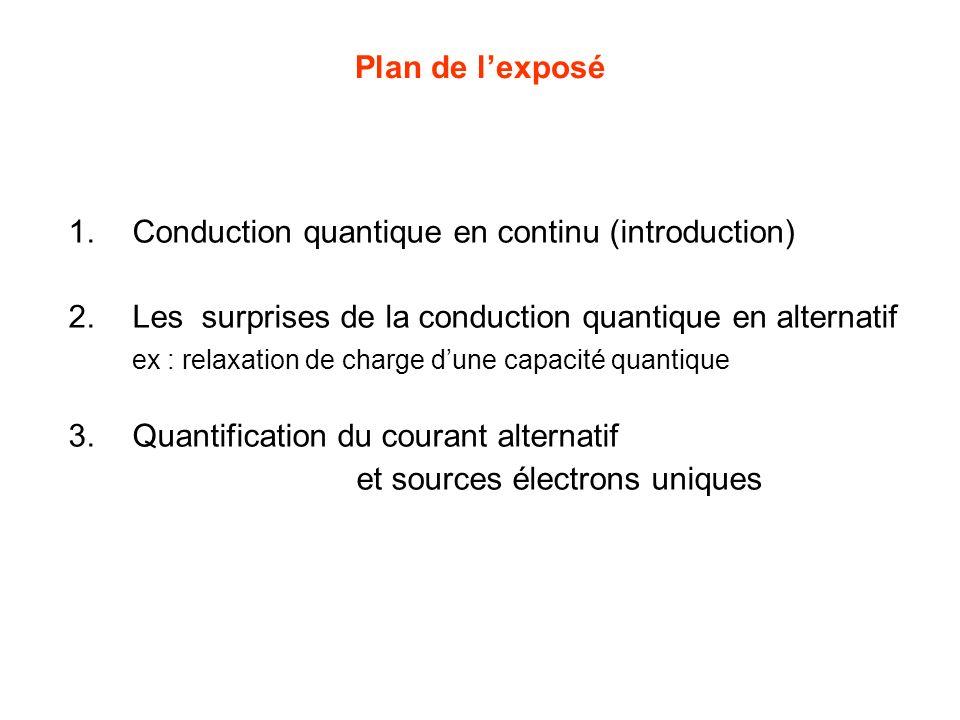 Plan de lexposé 1.Conduction quantique en continu (introduction) 2.Les surprises de la conduction quantique en alternatif ex : relaxation de charge dune capacité quantique 3.Quantification du courant alternatif et sources électrons uniques