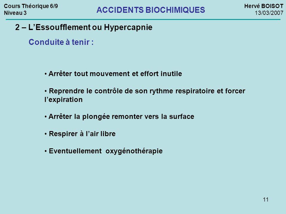 11 Cours Théorique 6/9 Niveau 3 Hervé BOISOT 13/03/2007 ACCIDENTS BIOCHIMIQUES 2 – LEssoufflement ou Hypercapnie Conduite à tenir : Arrêter tout mouve