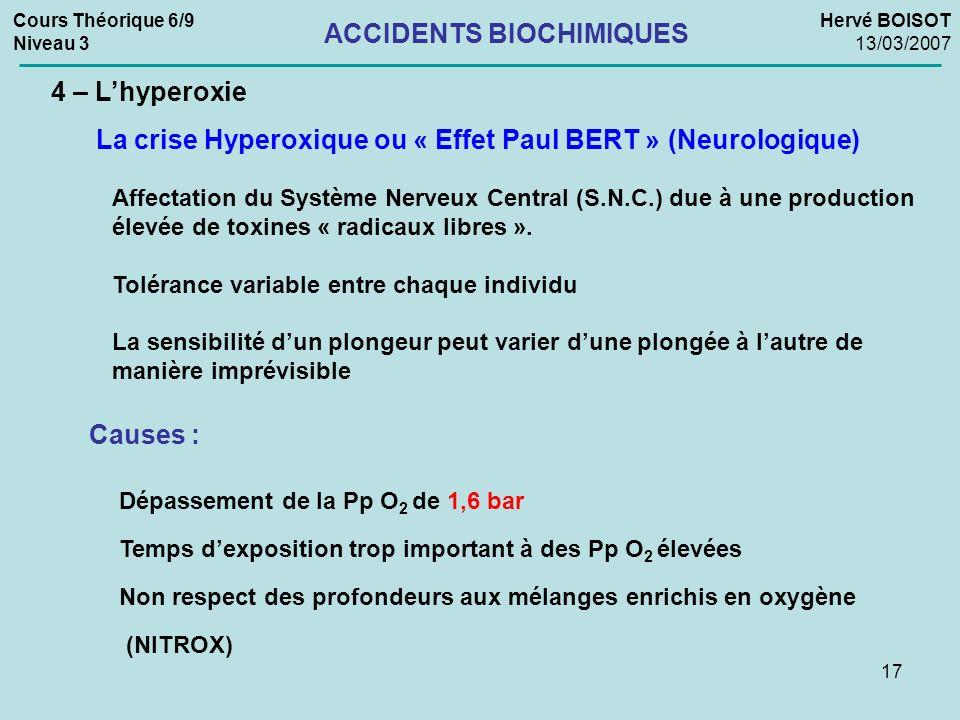 17 Cours Théorique 6/9 Niveau 3 Hervé BOISOT 13/03/2007 ACCIDENTS BIOCHIMIQUES 4 – Lhyperoxie La crise Hyperoxique ou « Effet Paul BERT » (Neurologiqu