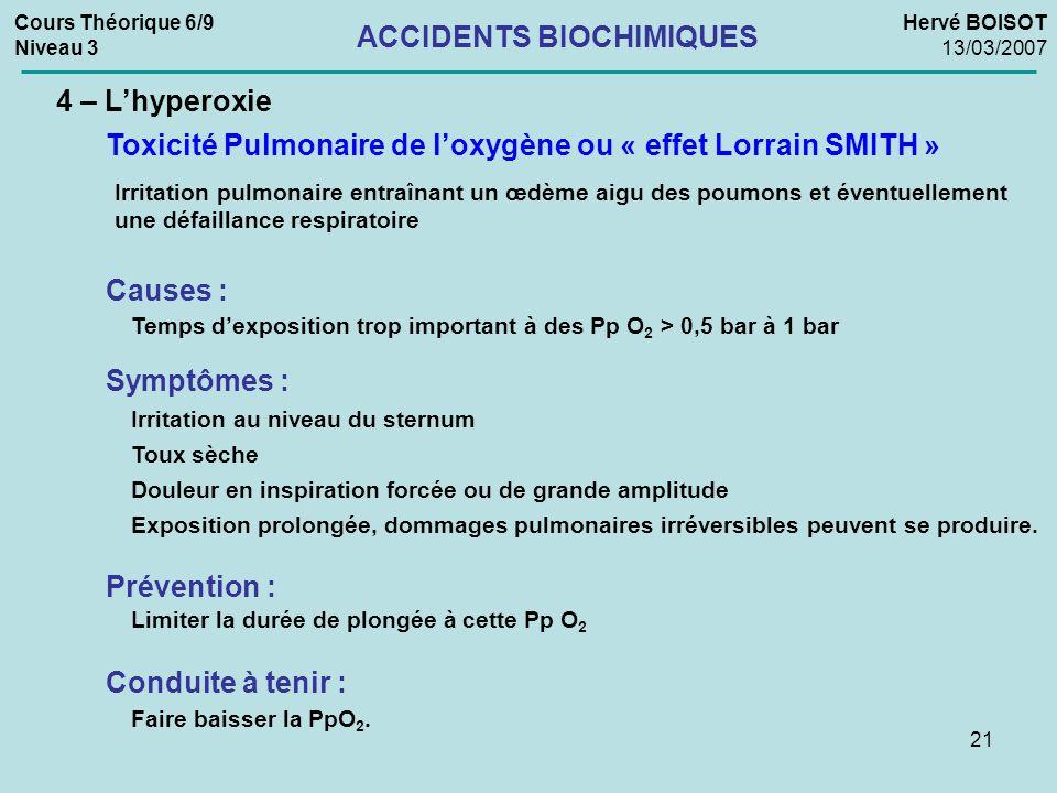 21 Cours Théorique 6/9 Niveau 3 Hervé BOISOT 13/03/2007 ACCIDENTS BIOCHIMIQUES 4 – Lhyperoxie Irritation pulmonaire entraînant un œdème aigu des poumo