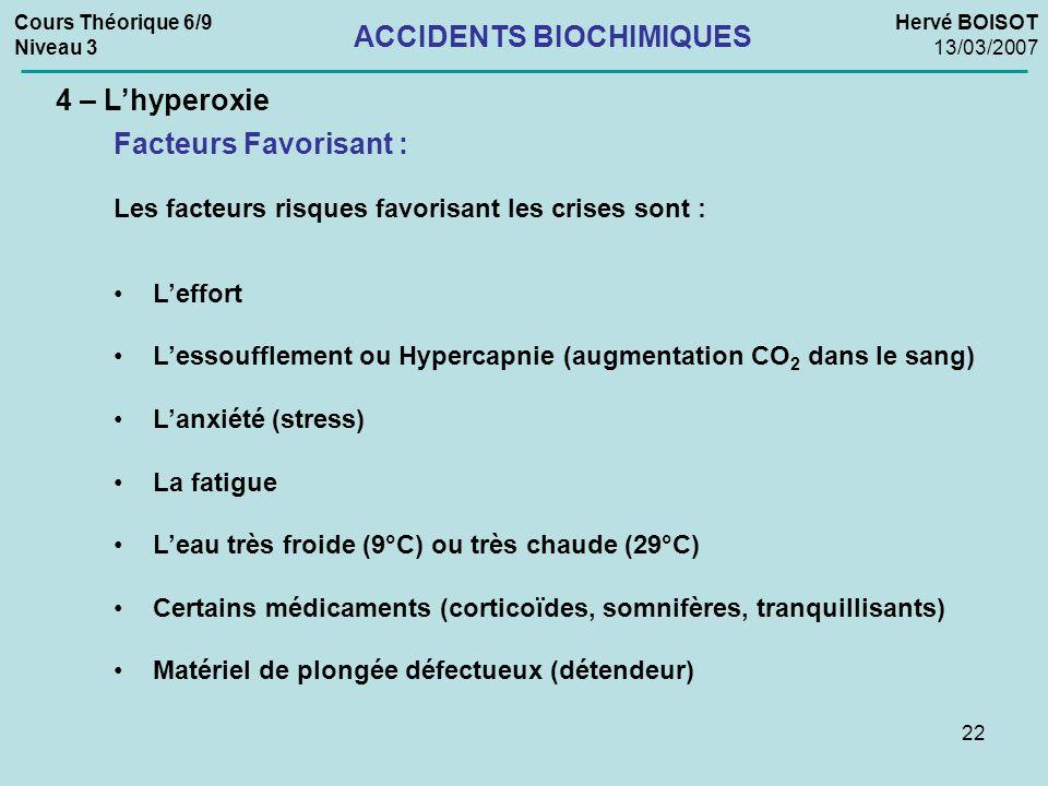 22 Cours Théorique 6/9 Niveau 3 Hervé BOISOT 13/03/2007 ACCIDENTS BIOCHIMIQUES 4 – Lhyperoxie Les facteurs risques favorisant les crises sont : Leffor