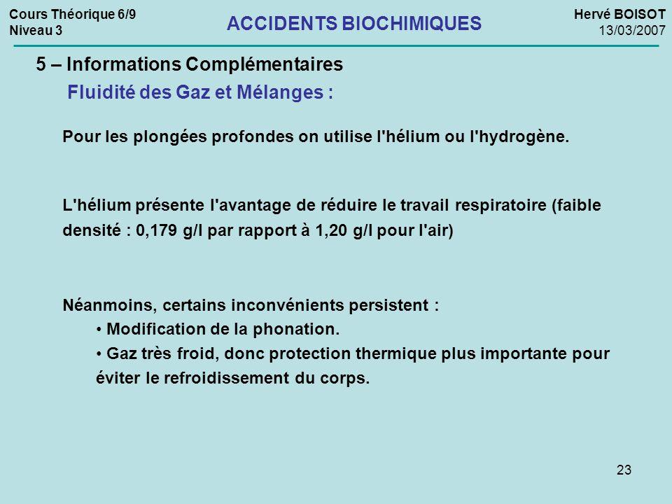 23 Cours Théorique 6/9 Niveau 3 Hervé BOISOT 13/03/2007 ACCIDENTS BIOCHIMIQUES 5 – Informations Complémentaires Fluidité des Gaz et Mélanges : Pour le