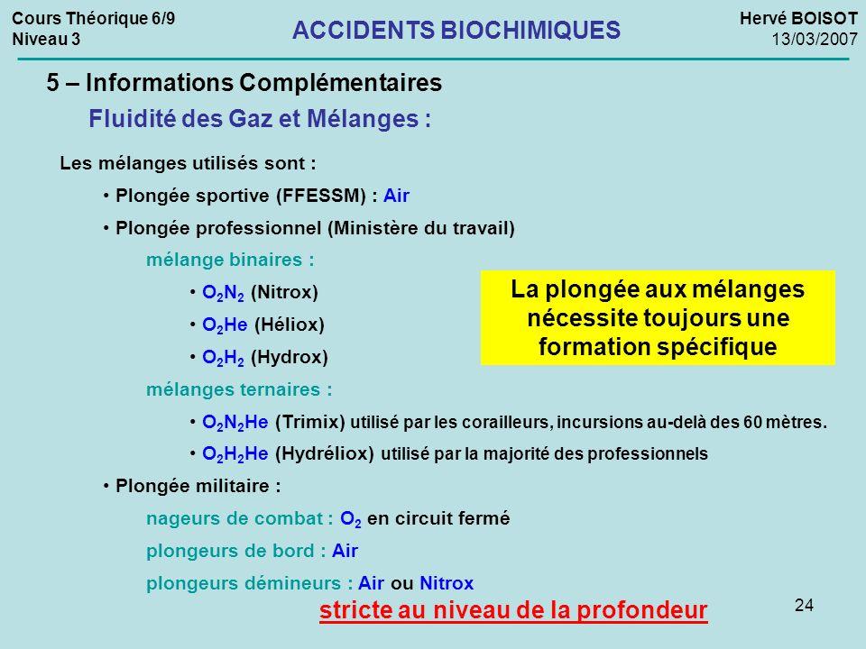 24 Les mélanges utilisés sont : Plongée sportive (FFESSM) : Air Plongée professionnel (Ministère du travail) mélange binaires : O 2 N 2 (Nitrox) O 2 H