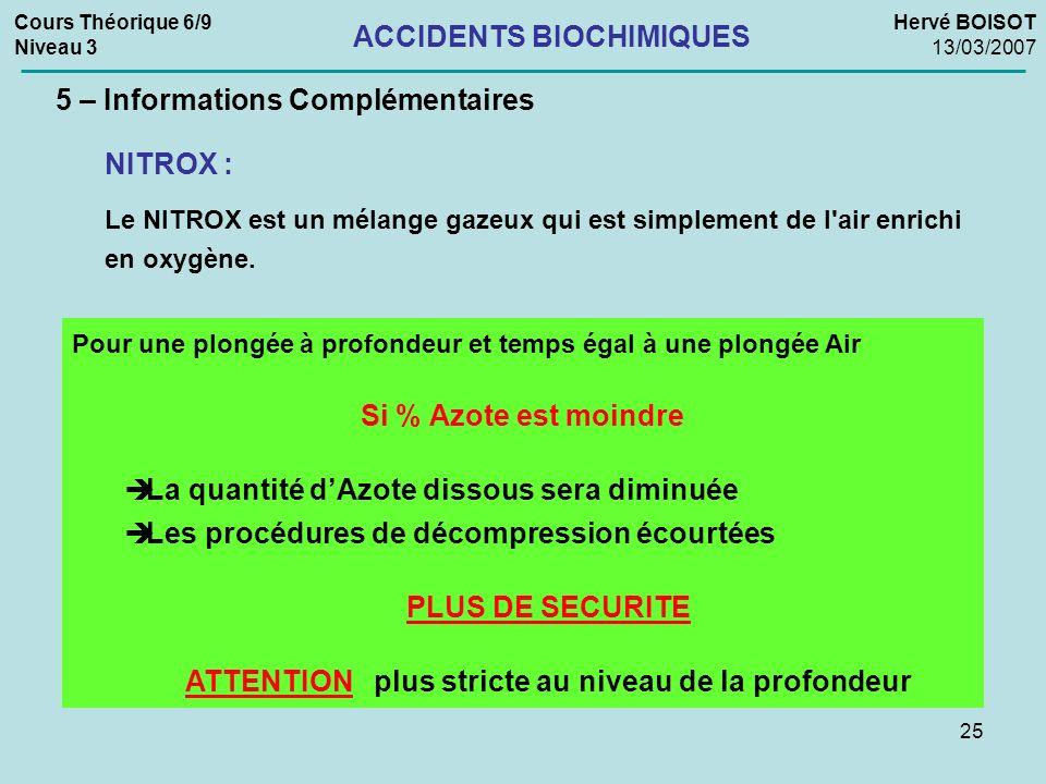 25 Cours Théorique 6/9 Niveau 3 Hervé BOISOT 13/03/2007 ACCIDENTS BIOCHIMIQUES 5 – Informations Complémentaires NITROX : Le NITROX est un mélange gaze