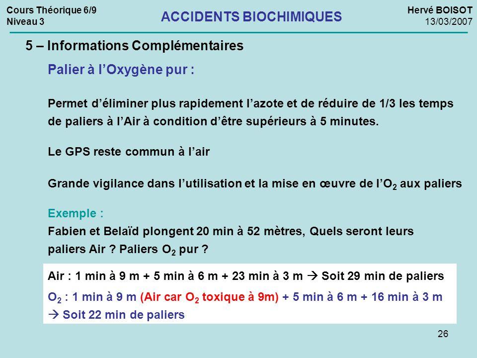 26 Cours Théorique 6/9 Niveau 3 Hervé BOISOT 13/03/2007 ACCIDENTS BIOCHIMIQUES 5 – Informations Complémentaires Palier à lOxygène pur : Permet délimin