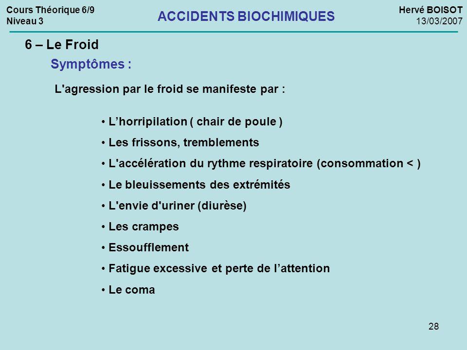 28 Cours Théorique 6/9 Niveau 3 Hervé BOISOT 13/03/2007 ACCIDENTS BIOCHIMIQUES 6 – Le Froid Symptômes : L'agression par le froid se manifeste par : Lh