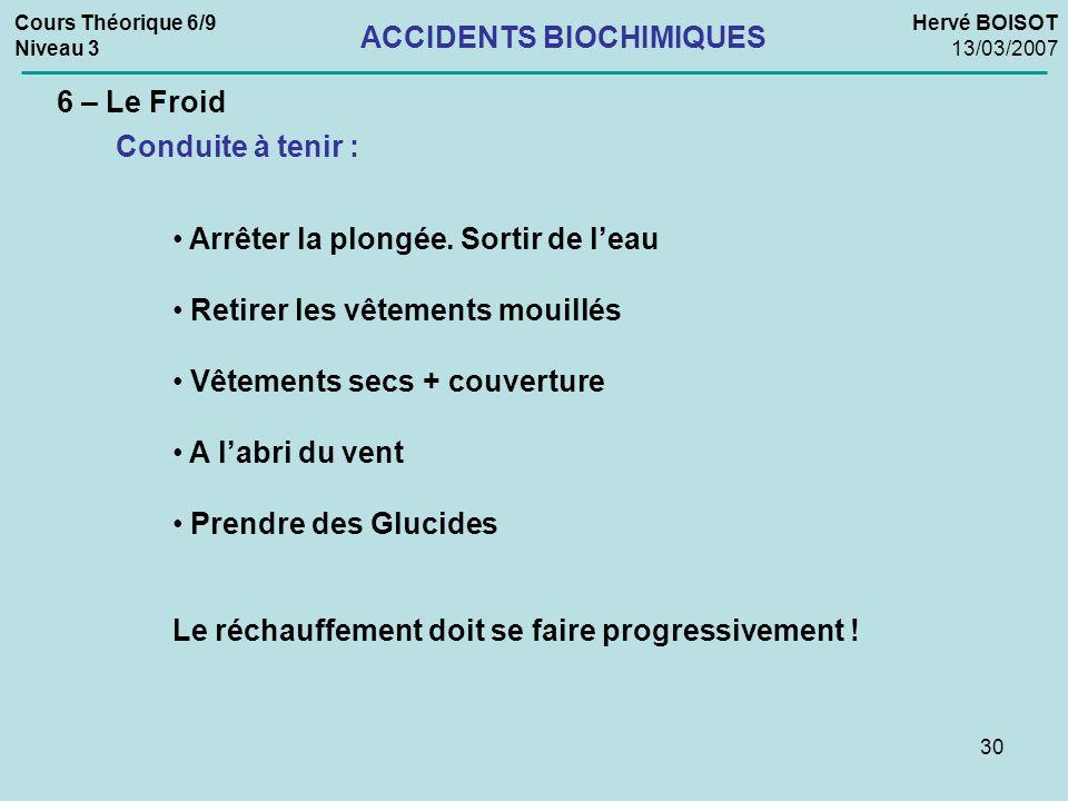 30 Cours Théorique 6/9 Niveau 3 Hervé BOISOT 13/03/2007 ACCIDENTS BIOCHIMIQUES 6 – Le Froid Conduite à tenir : Arrêter la plongée. Sortir de leau Reti