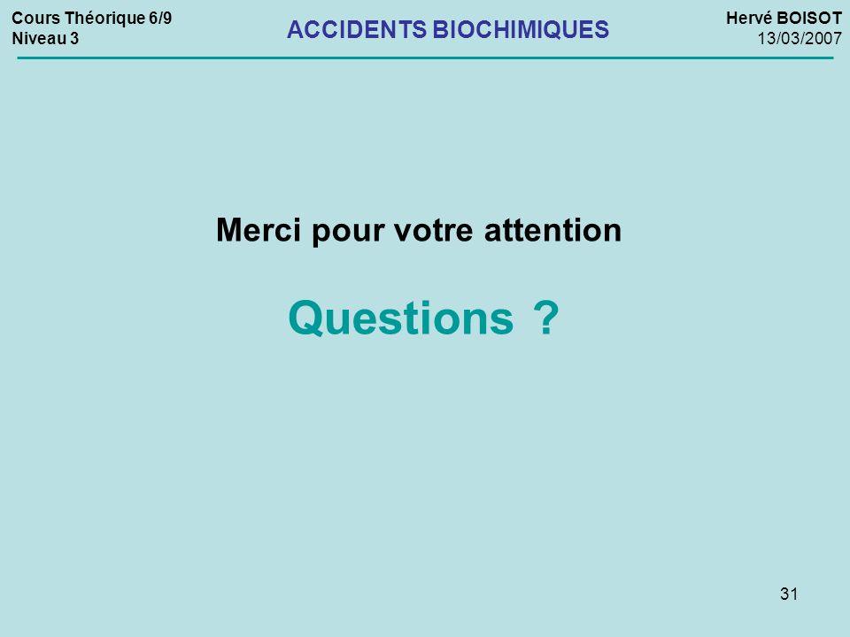 31 Merci pour votre attention Questions ? Cours Théorique 6/9 Niveau 3 Hervé BOISOT 13/03/2007 ACCIDENTS BIOCHIMIQUES
