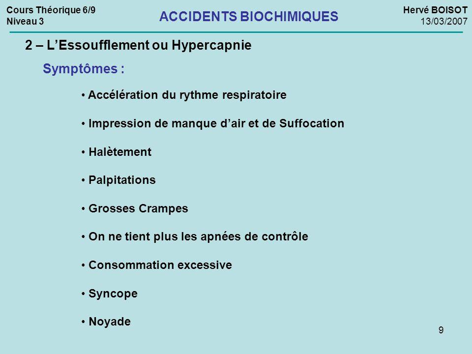 20 Cours Théorique 6/9 Niveau 3 Hervé BOISOT 13/03/2007 ACCIDENTS BIOCHIMIQUES 4 – Lhyperoxie La crise Hyperoxique ou « Effet Paul BERT » (Neurologique) Conduite à tenir : Avant la crise : REMONTER, en respectant les procédures de sécurité sous étroite surveillance Si la crise survient : Ne pas remonter le plongeur en phase 1 (tonique), à cause du risque de suppression pulmonaire.