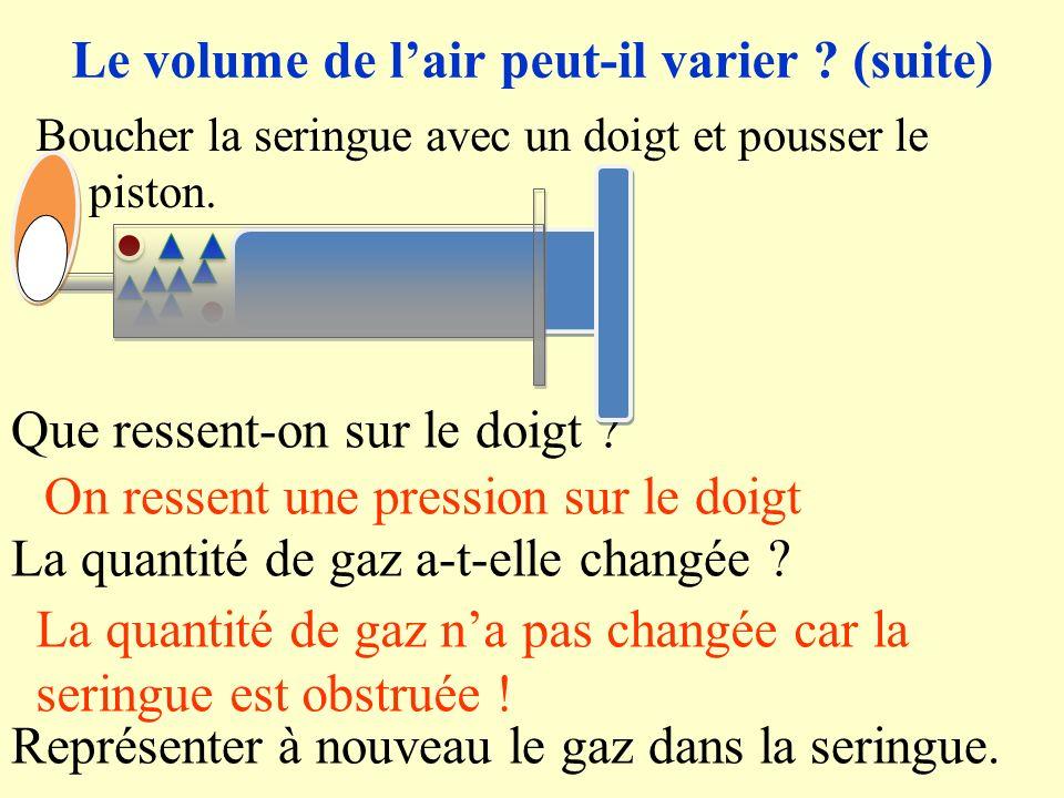 II) Le volume de lair 1)Le volume de lair peut-il varier ? Rappel de 5ème: Lair na pas de forme propre, il épouse la forme du récipient qui le contien