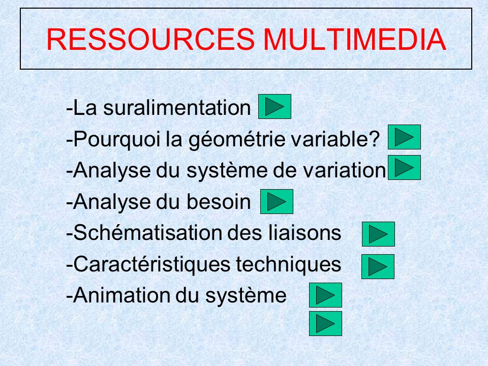 RESSOURCES MULTIMEDIA -La suralimentation -Pourquoi la géométrie variable.