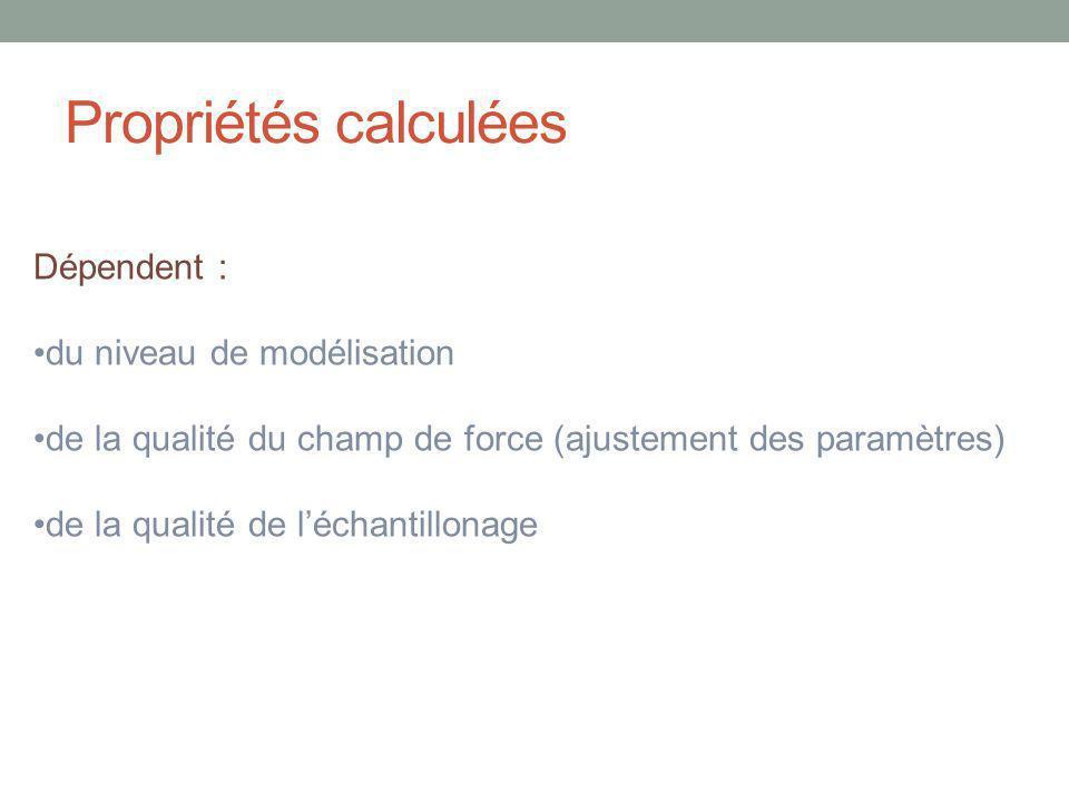 Propriétés calculées Dépendent : du niveau de modélisation de la qualité du champ de force (ajustement des paramètres) de la qualité de léchantillonage