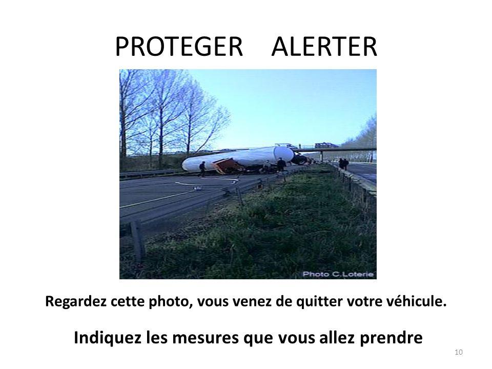 PROTEGER ALERTER 10 Regardez cette photo, vous venez de quitter votre véhicule. Indiquez les mesures que vous allez prendre
