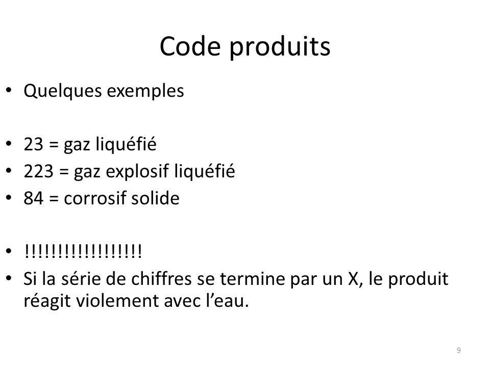 Code produits Quelques exemples 23 = gaz liquéfié 223 = gaz explosif liquéfié 84 = corrosif solide !!!!!!!!!!!!!!!!!! Si la série de chiffres se termi