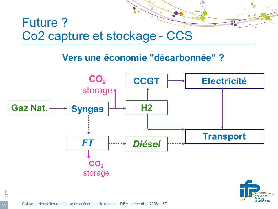 © IFP Colloque Nouvelles technologies et énergies de demain - DEV - décembre 2008 - IFP 14 Vers une économie décarbonnée .