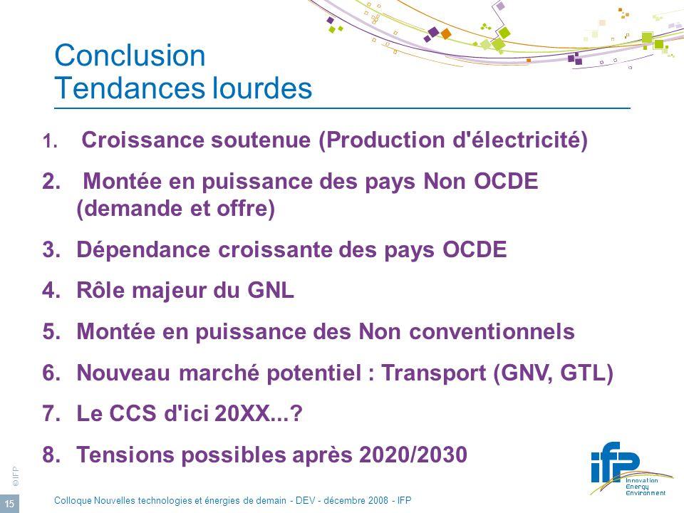 © IFP Colloque Nouvelles technologies et énergies de demain - DEV - décembre 2008 - IFP 15 Conclusion Tendances lourdes 1.