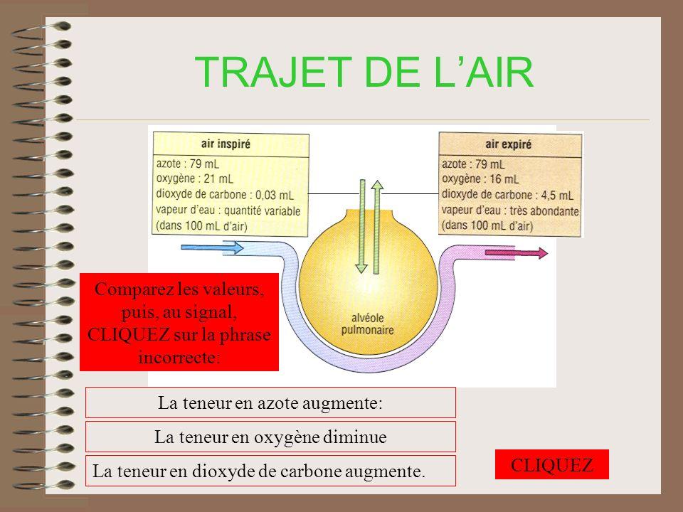 TRAJET DE LAIR Comparez les valeurs, puis, au signal, CLIQUEZ sur la phrase incorrecte: La teneur en azote augmente: La teneur en oxygène diminue La teneur en dioxyde de carbone augmente.