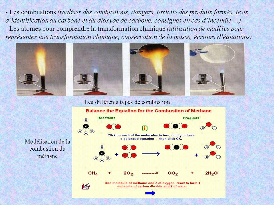 - Les combustions (réaliser des combustions, dangers, toxicité des produits formés, tests didentification du carbone et du dioxyde de carbone, consign