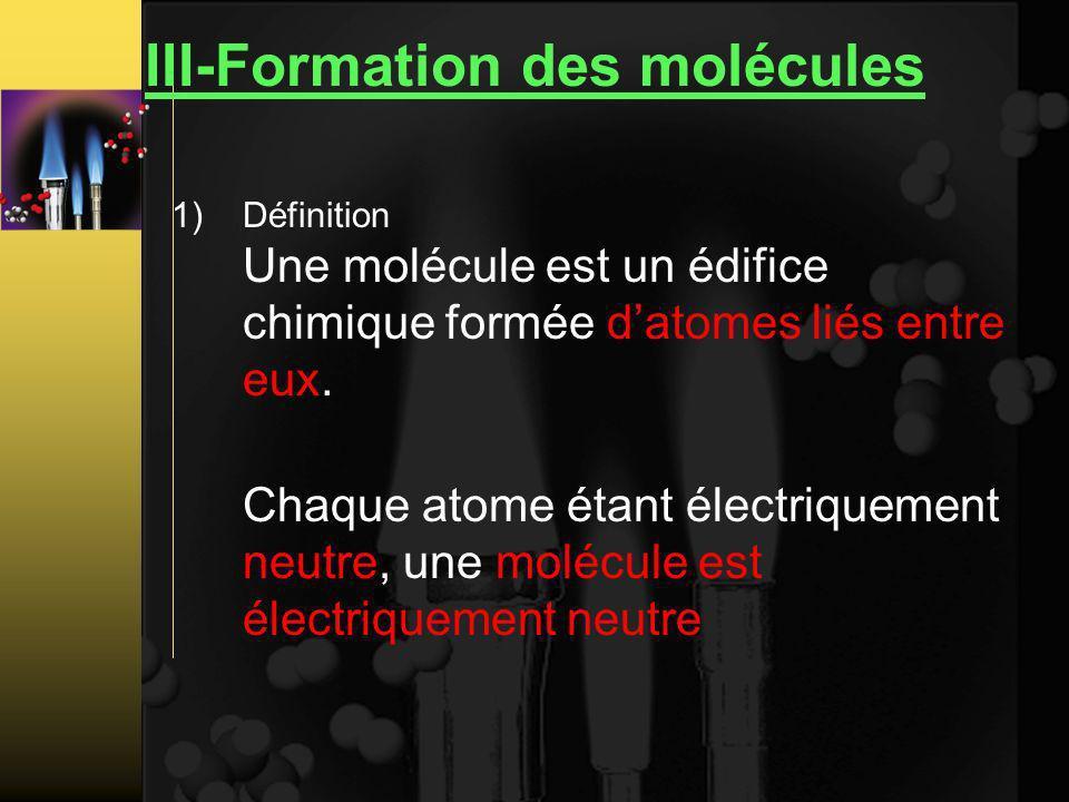 III-Formation des molécules 1)Définition Une molécule est un édifice chimique formée datomes liés entre eux.