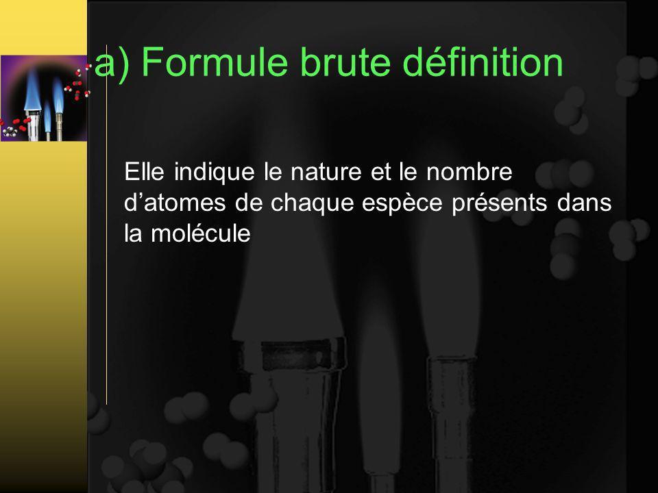 a) Formule brute définition Elle indique le nature et le nombre datomes de chaque espèce présents dans la molécule