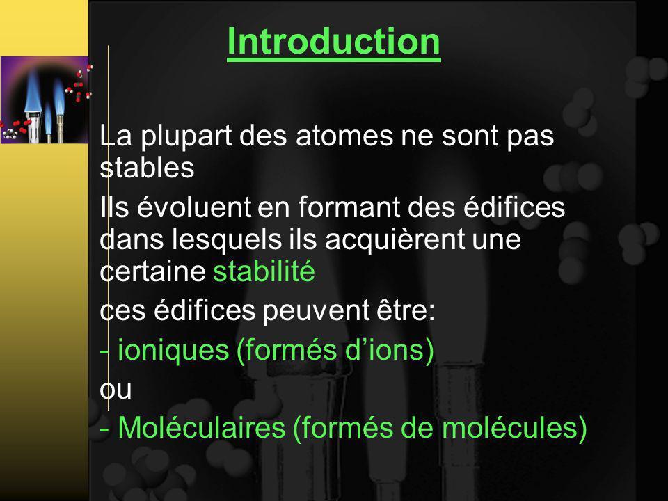 Introduction La plupart des atomes ne sont pas stables Ils évoluent en formant des édifices dans lesquels ils acquièrent une certaine stabilité ces édifices peuvent être: - ioniques (formés dions) ou - Moléculaires (formés de molécules)
