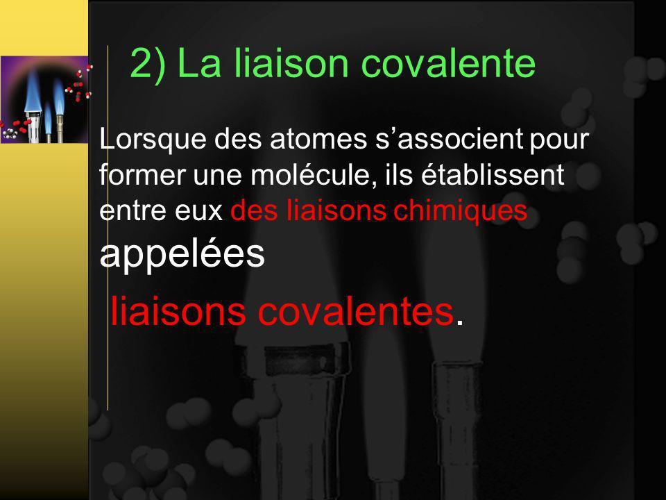 2) La liaison covalente Lorsque des atomes sassocient pour former une molécule, ils établissent entre eux des liaisons chimiques appelées liaisons covalentes.