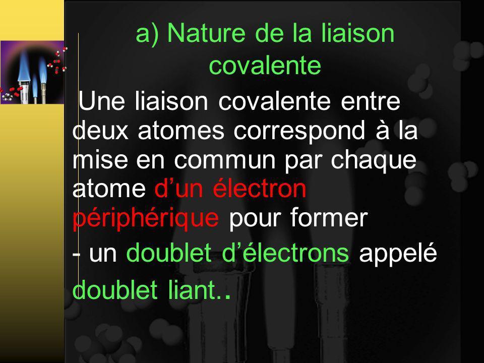 a) Nature de la liaison covalente Une liaison covalente entre deux atomes correspond à la mise en commun par chaque atome dun électron périphérique pour former - un doublet délectrons appelé doublet liant..