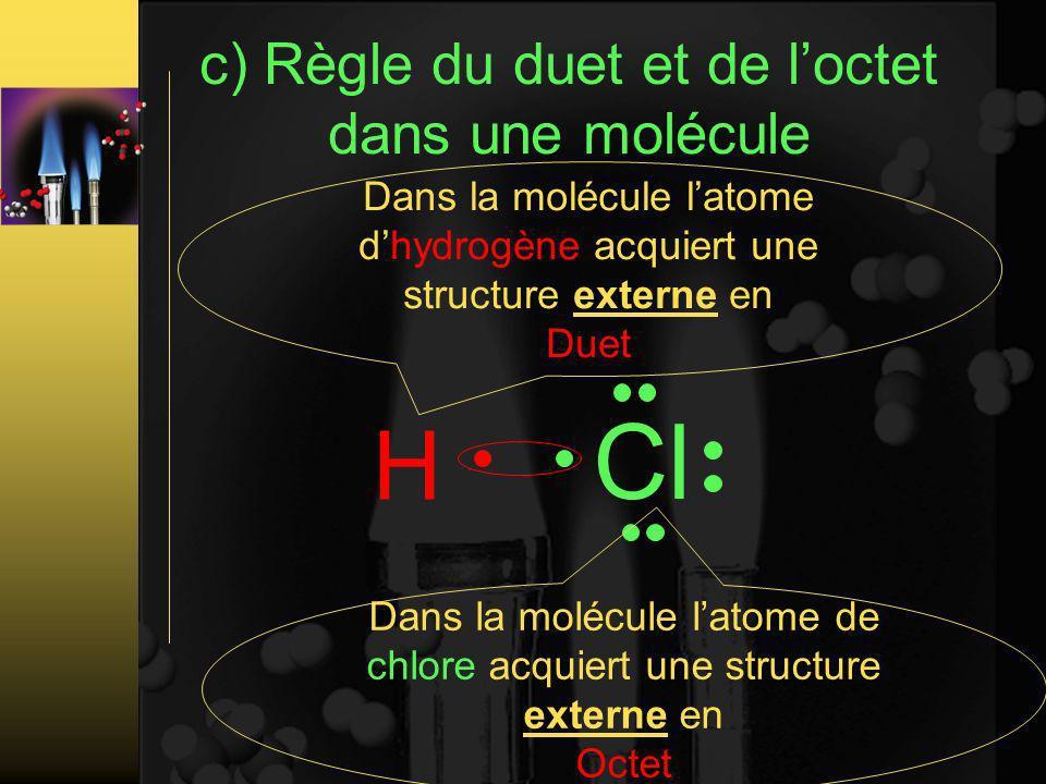 c) Règle du duet et de loctet dans une molécule H Cl Dans la molécule latome dhydrogène acquiert une structure externe en Duet Dans la molécule latome de chlore acquiert une structure externe en Octet
