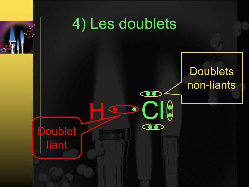 4) Les doublets Doublet liant Doublets non-liants H Cl