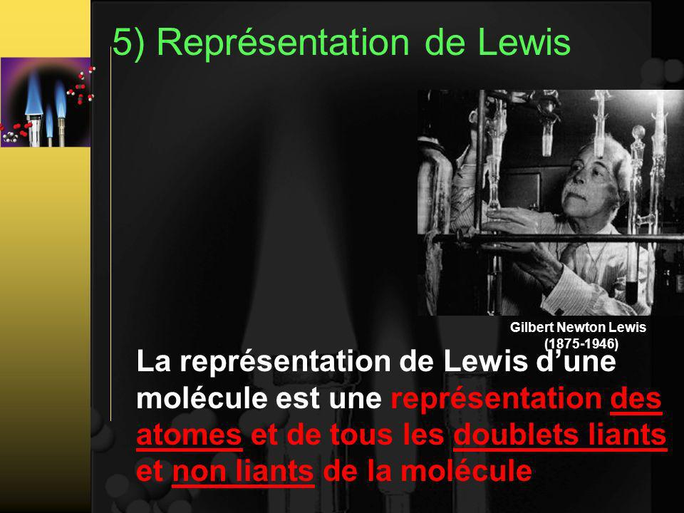 5) Représentation de Lewis La représentation de Lewis dune molécule est une représentation des atomes et de tous les doublets liants et non liants de la molécule Gilbert Newton Lewis (1875-1946)