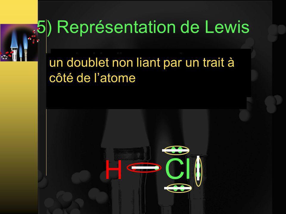 5) Représentation de Lewis Les atomes sont représentés par leur symboles H Cl un doublet liant entre deux atome est représentés par un trait entre ces deux atomes un doublet non liant par un trait à côté de latome