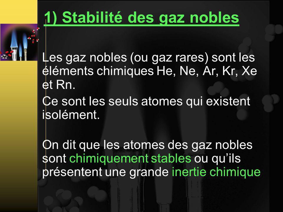 1) Stabilité des gaz nobles Les gaz nobles (ou gaz rares) sont les éléments chimiques He, Ne, Ar, Kr, Xe et Rn.