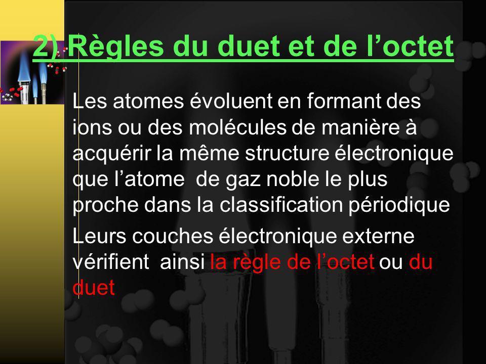 2) Règles du duet et de loctet Les atomes évoluent en formant des ions ou des molécules de manière à acquérir la même structure électronique que latome de gaz noble le plus proche dans la classification périodique Leurs couches électronique externe vérifient ainsi la règle de loctet ou du duet