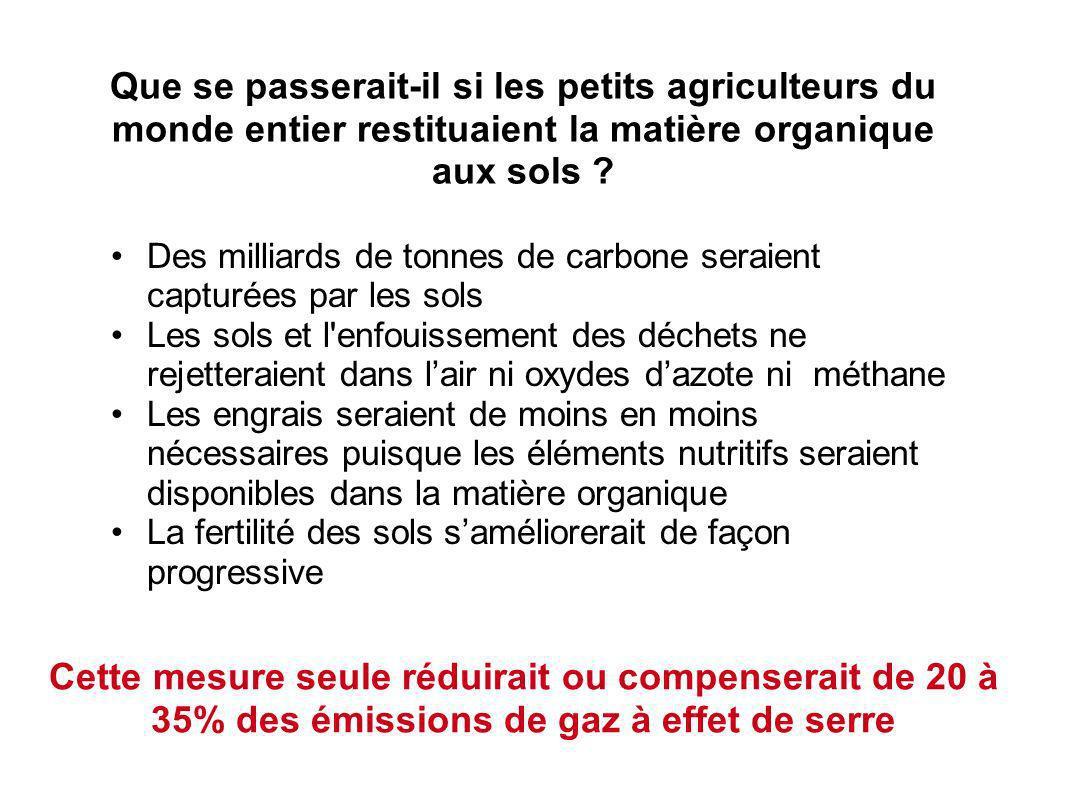 Que se passerait-il si les petits agriculteurs du monde entier restituaient la matière organique aux sols .