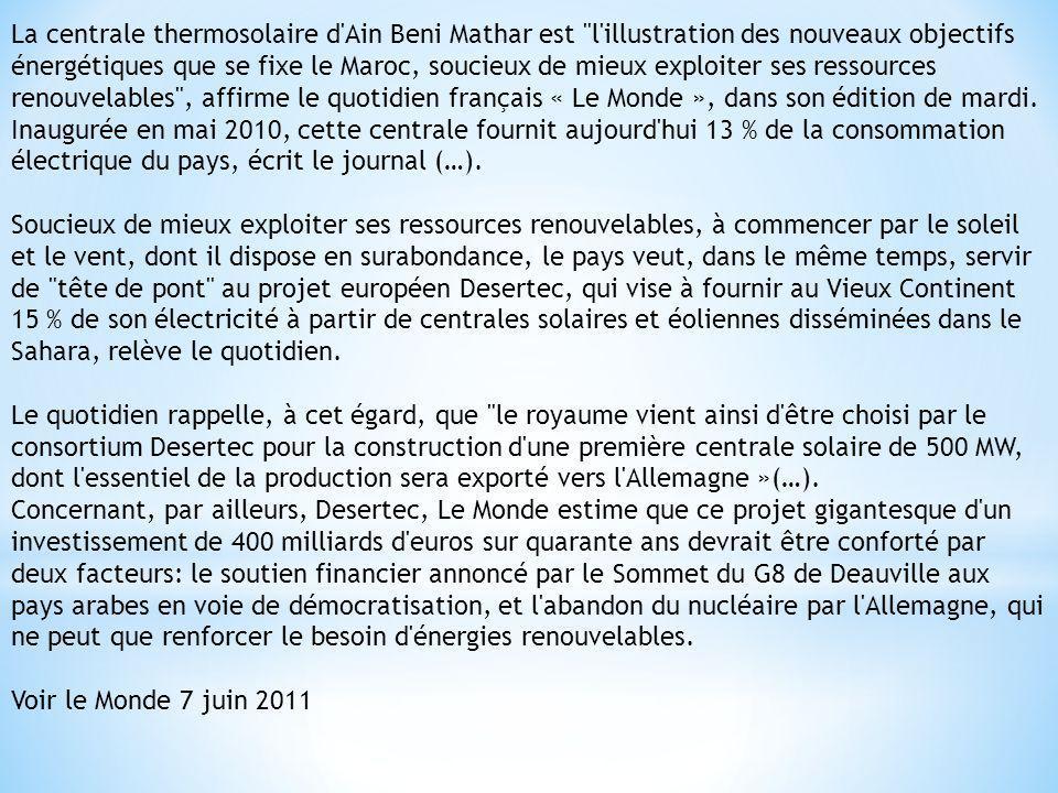 La centrale thermosolaire d'Ain Beni Mathar est