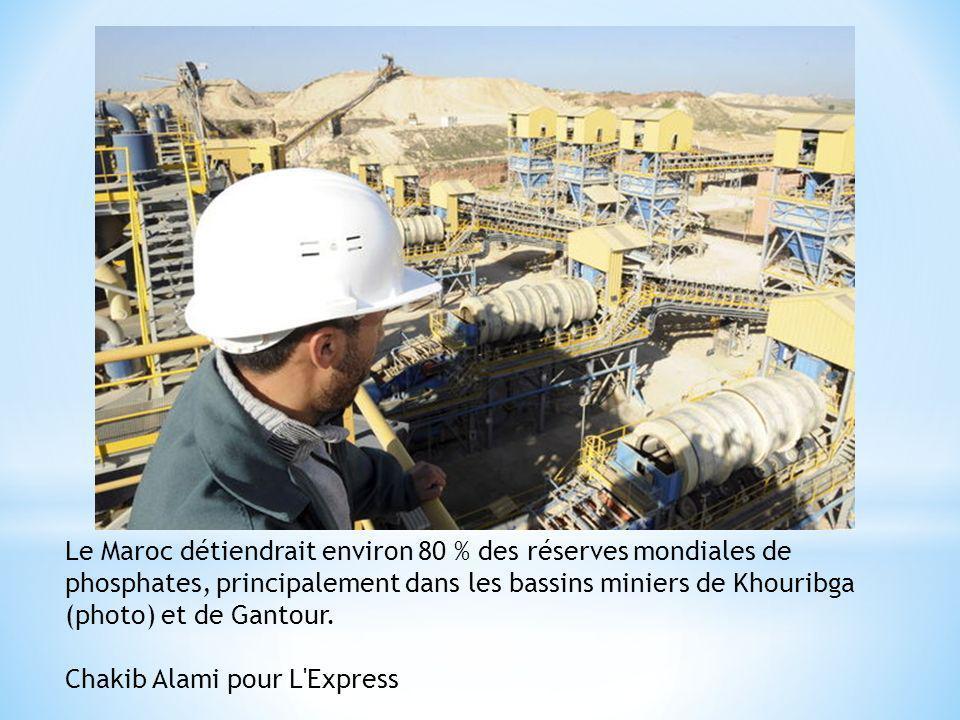Le Maroc détiendrait environ 80 % des réserves mondiales de phosphates, principalement dans les bassins miniers de Khouribga (photo) et de Gantour. Ch