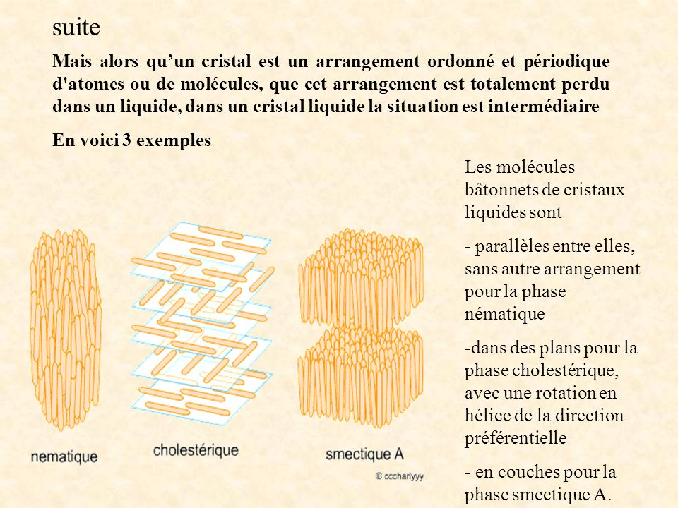 Mais alors quun cristal est un arrangement ordonné et périodique d'atomes ou de molécules, que cet arrangement est totalement perdu dans un liquide, d