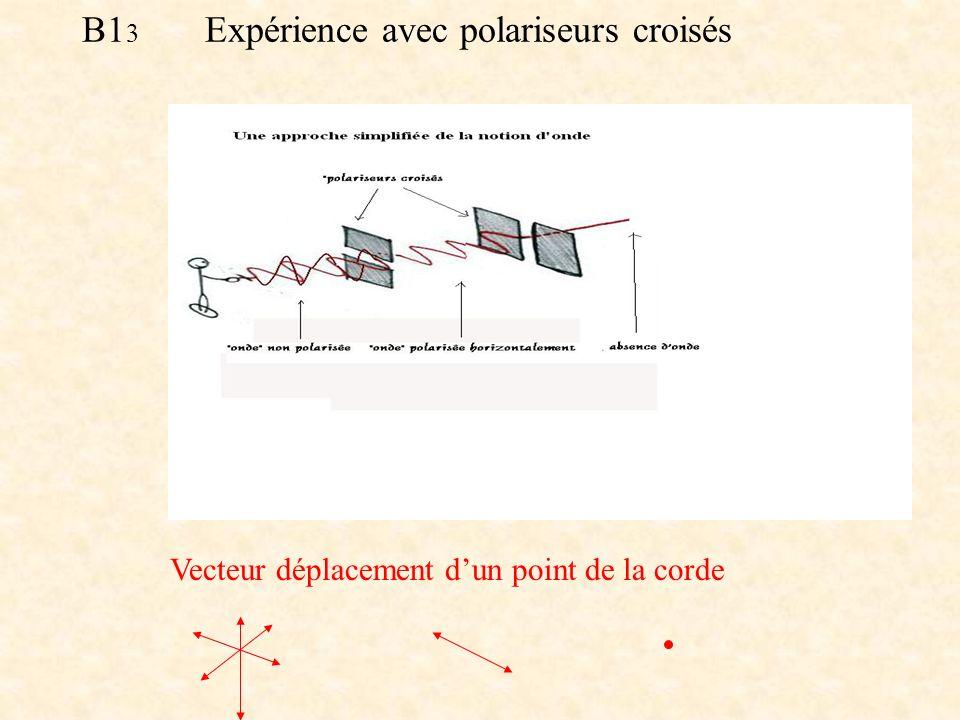 B1 3 Expérience avec polariseurs croisés (mécanique) Vecteur déplacement dun point de la corde