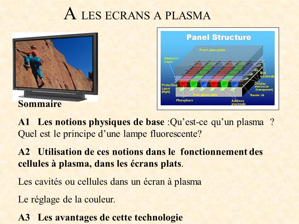A LES ECRANS A PLASMA Sommaire A1 Les notions physiques de base :Quest-ce quun plasma ? Quel est le principe dune lampe fluorescente? A2 Utilisation d