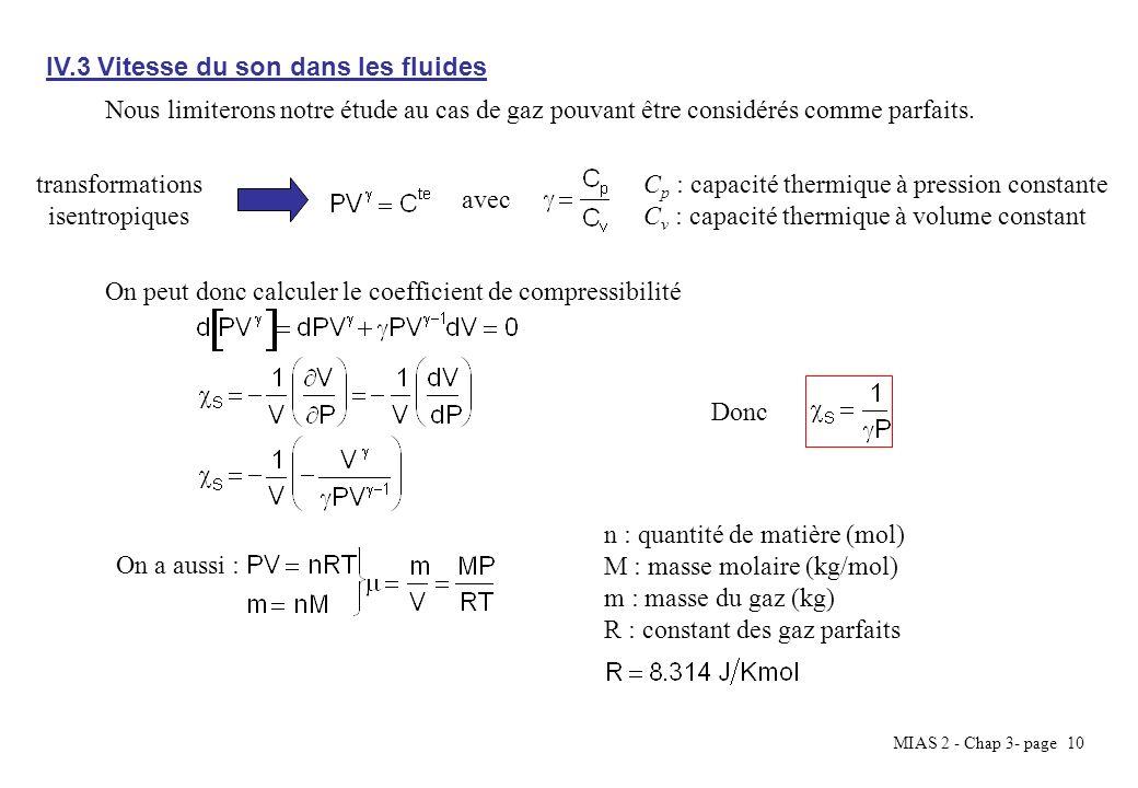 MIAS 2 - Chap 3- page 10 IV.3 Vitesse du son dans les fluides Nous limiterons notre étude au cas de gaz pouvant être considérés comme parfaits. C p :