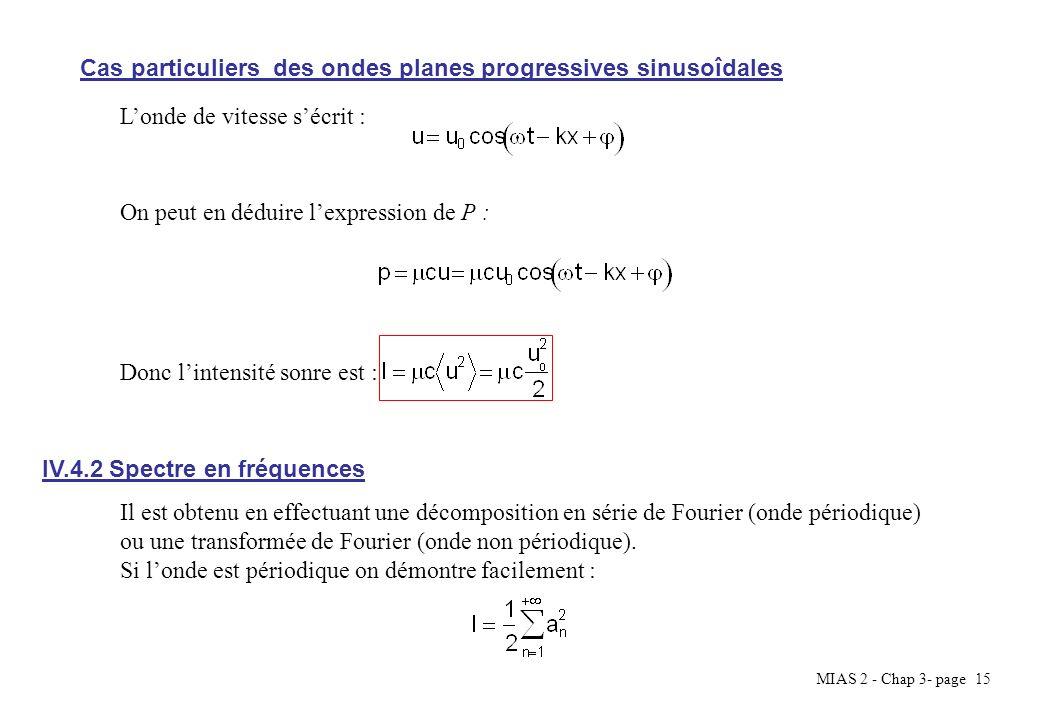 MIAS 2 - Chap 3- page 15 Cas particuliers des ondes planes progressives sinusoîdales On peut en déduire lexpression de P : Londe de vitesse sécrit : D
