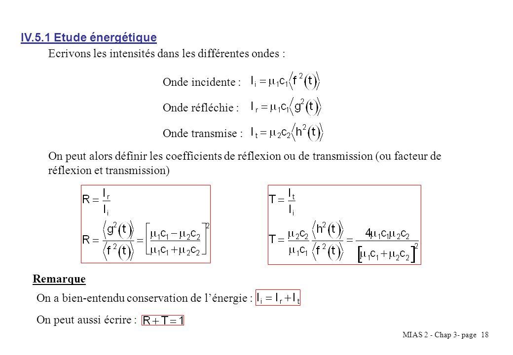MIAS 2 - Chap 3- page 18 IV.5.1 Etude énergétique Ecrivons les intensités dans les différentes ondes : Onde réfléchie : Onde transmise : Onde incident