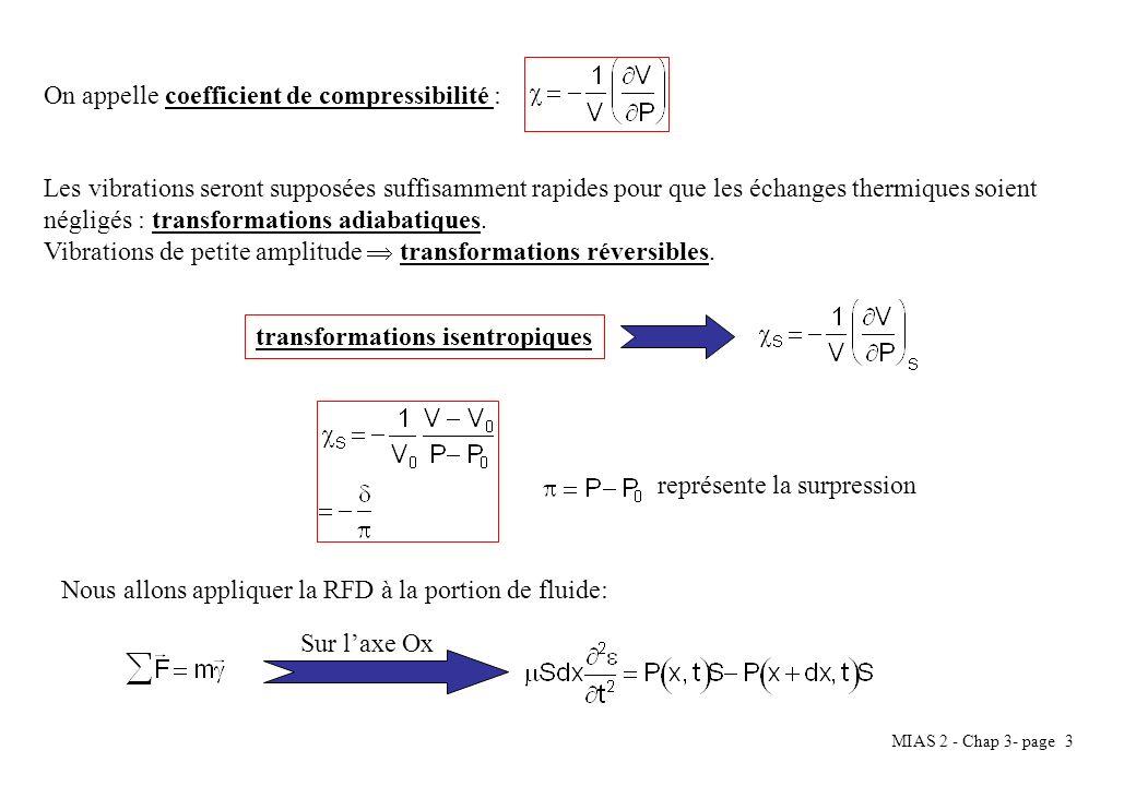 MIAS 2 - Chap 3- page 3 On appelle coefficient de compressibilité : Les vibrations seront supposées suffisamment rapides pour que les échanges thermiq