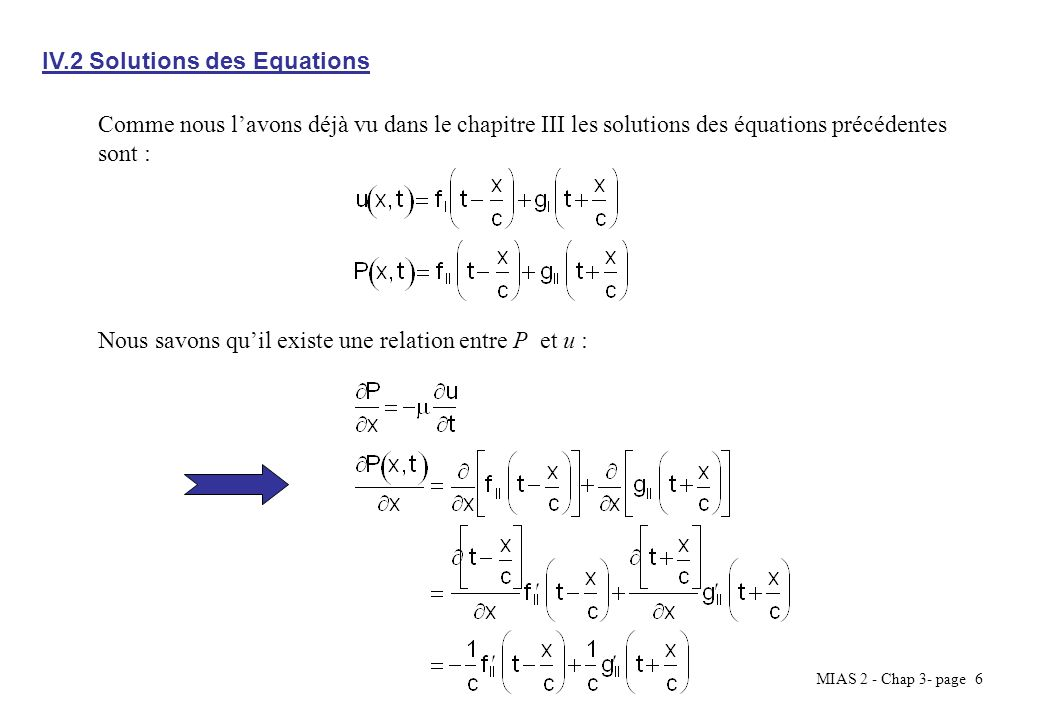 MIAS 2 - Chap 3- page 6 Comme nous lavons déjà vu dans le chapitre III les solutions des équations précédentes sont : Nous savons quil existe une rela