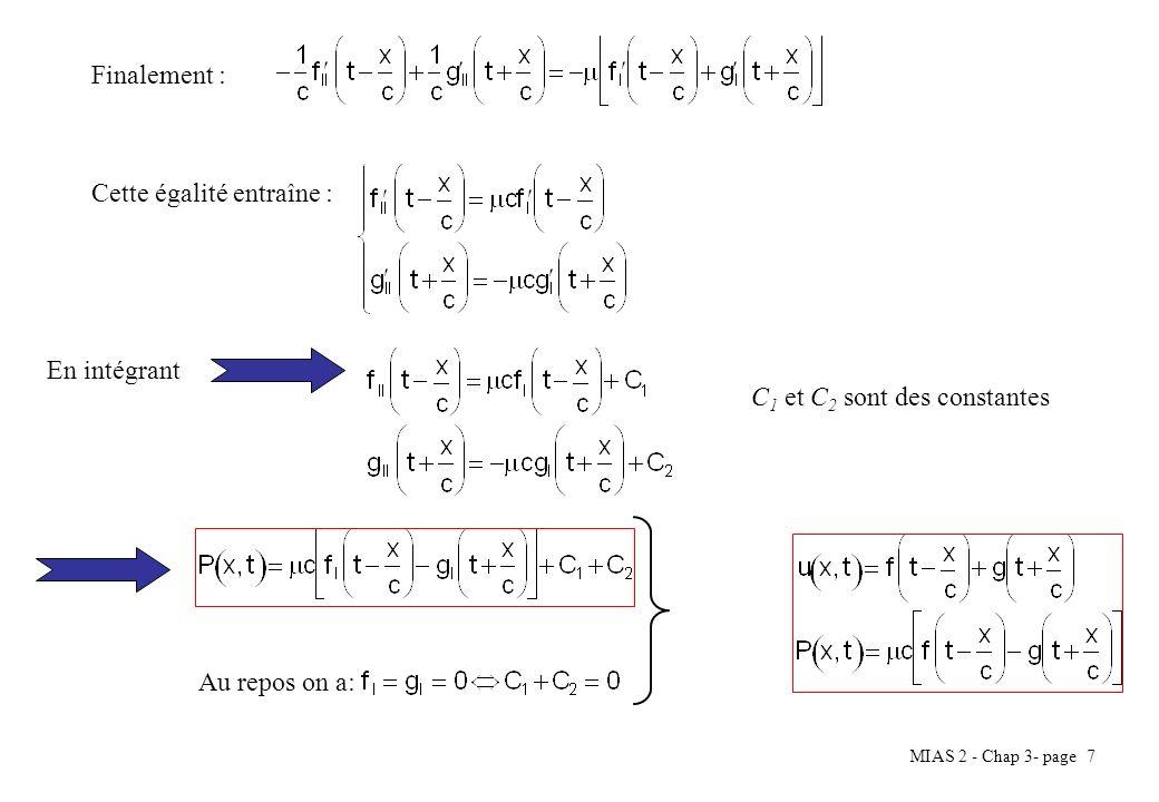 MIAS 2 - Chap 3- page 7 Finalement : Cette égalité entraîne : En intégrant C 1 et C 2 sont des constantes Au repos on a: